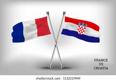 TWO COUNTRY FLAGS. FRANCE AND CROATIA. VECTOR EPS.