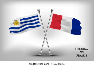 TWO COUNTRY FLAGS. URUGUAY AND FRANCE. VECTOR EPS