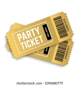 Two, couple vector golden party tickets isolated on white background, realistic 3d event festival gold ticket template. One of my big ticket collection.