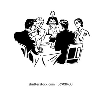 Two Couples Dining - Retro Clip Art