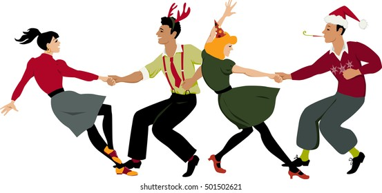 Two couples in holidays attire and party hats  dancing lindy hop or swing in formation, EPS 8 vector illustration
