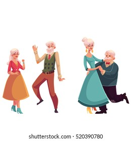 Two couples of old, senior people dancing together, cartoon style vector illustrations isolated on white background. Two couples of old ladies and gentlemen dancing romantically