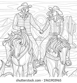 Two cowboys on horseback in desert .Coloring book antistress for children and adults. Illustration isolated on white background.Zen-tangle style. Hand draw - Shutterstock ID 1961903965