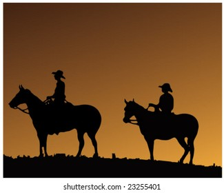 Two Cowboy's on two horses - Vector - Also available as a JPG