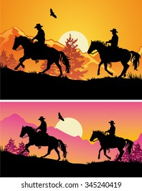 Two cowboys riding galloping horses in mountain range at sunset - Wild West silhouette background banners