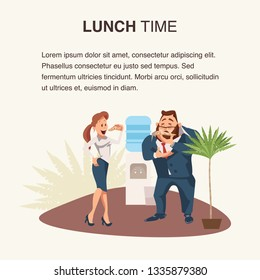 Two Coworker Eating Pizza at Workplace Banner. Colleague with Junkfood near Water Cooler. Woman Stand, Bite Slice. Man Wear Formal Suit Smell Food. Cartoon Flat Vector Illustration
