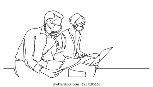 two coworkers wearing face masks working on documents with laptop computer - single line drawing