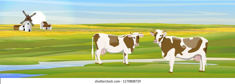 Two cows in a meadow near the river. Countryside. Household buildings mill, shed, village house. Fields. Vector landscape