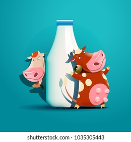 Two cows standing near the bottle of milk