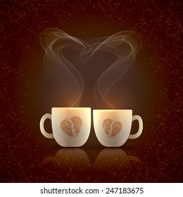 Two cream color cups, decorated with coffee beans in the form of heart, stand together with fragrant steam in the form of heart on a dark grungy background on Valentines Day