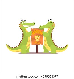 Two Crocodiles Setting Up A Sign Funny Childish Colorful Flat Vector Illustration On White Background