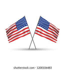 Two crossed american waving flags. Patriotic illustration. Flag of USA