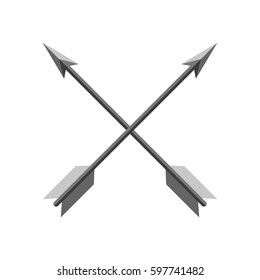 Two crossed arrows in flat design. Vector illustration. Concept of archery