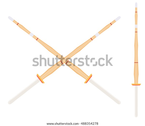 Two Crossed Bamboo Training Sword Kendo Stock Vector (Royalty Free