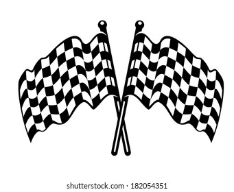 Two crossed black and white checkered flags logo with the fabric waving in the breeze as used on the finishing line in motor sports