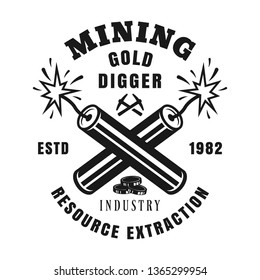 Two crossed burning dynamites vector monochrome emblem, badge, label or logo in vintage style for gold mining industry isolated on white background