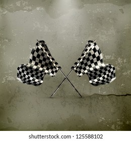 Two crossed checkered flags, old-style