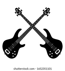 Two crossed electric bass guitars. Symmetrical rock emblem. Black and white silhouette. Isolated vector illustration.