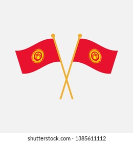 Two crossed Flag of Kyrgyzstan, Kyrgyzstan flag template design. Vector Eps 10