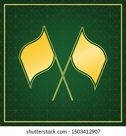Two crossed flags sign. Golden icon with gold contour at dark green gridded white background. Illustration.