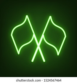 Two crossed flags sign. Green neon icon in the dark. Blurred lightening. Illustration.