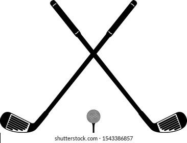 Two crossed golf clubs and ball icon in outline style on a white background vector illustration
