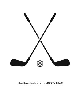 Two crossed golf clubs and ball icon in simple style on a white background vector illustration