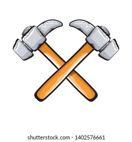 two crossed hammers isolated on white background. Vector carpenter hammer icon or label. Handyman logo design template