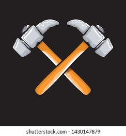 two crossed hammers isolated on black background. Vector graphic carpenter hammer icon or label. Handyman logo design template