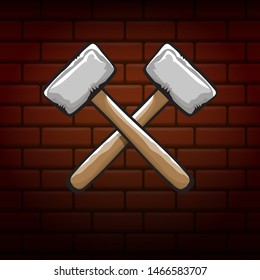 two crossed hammers isolated on brick wall industrial background. Vector graphic carpenter hammer icon or label. Handyman logo design template