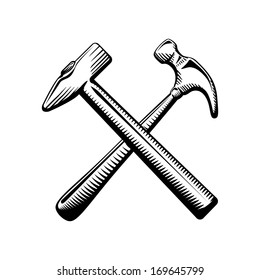 Two crossed hammers symbol isolated vector illustration
