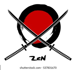 two crossed katana on red background and a zen circle, vector illustration