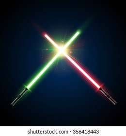 Two Crossed Light Swords Fight. Green and Blue Crossing Lasers. Design Elements for Your Projects. Vector illustration.