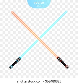 Two Crossed Light Swords Fight. Red and Blue Crossing Lasers. Vector illustration