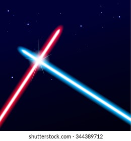 Two crossed light swords on night sky background. Vector illustration.