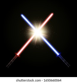Two crossed light swords. Red and blue laser sabers as a concept of the good versus evil fight.