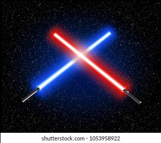 Two crossed light swords star wars - blue and red crossing lasers - light sabers vector illustration
