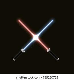 Two crossed magic light swords. Vector illustration