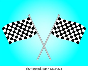 Two crossed over chequered flags on a blue background