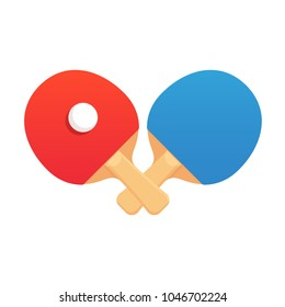 Two crossed ping pong rackets with ball, flat cartoon vector style. Table tennis challenge emblem or club logo, vector illustration.
