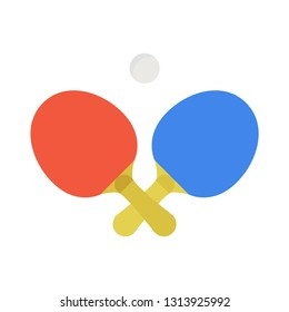 Two crossed ping pong rackets and ball emblem. Vector illustration.