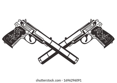 Two crossed pistols isolate on a white background. Vector graphics.