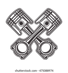 Two crossed pistons monochrome style vector illustration isolated on white background