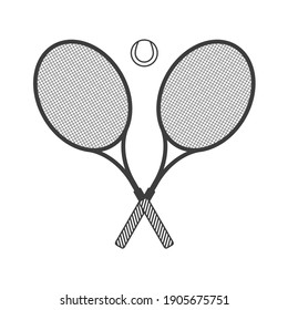Two crossed racket and tennis ball illustration in modern flat style. Tennis club logo isolated vector.