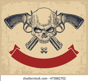 Two crossed revolver with bullets, skull and ribbon. Vector engraving illustrations. Isolated on beige vintage background. For tattoo, web, shooting club and label
