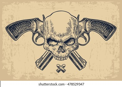 Two crossed revolver with bullets and skull. Vector engraving illustrations. Isolated on beige vintage background. For dead day, tattoo, web, shooting club and label