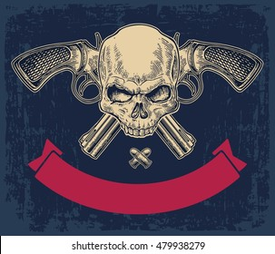 Two crossed revolver with bullets, skull and ribbon. Vector engraving illustrations. Isolated on dark blue vintage background. For tattoo, web, shooting club and label