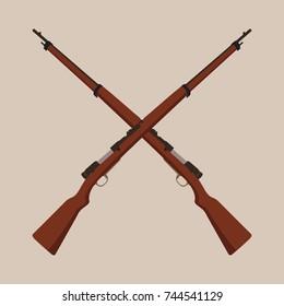 Two crossed rifle vector illustration. Revolution symbol