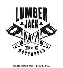 Two crossed saws lumberjack vector emblem in vintage monochrome style isolated on white background