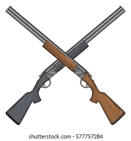Two crossed shotguns, vector illustration isolated on white background. Hunting gun